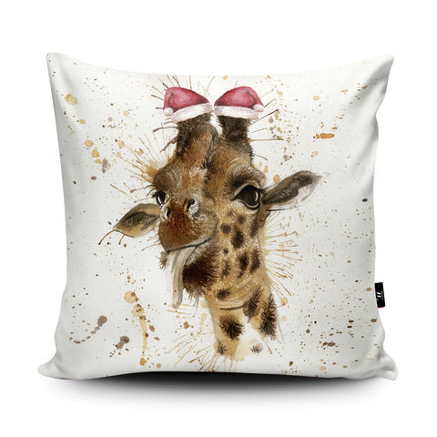 Splatter Christmas Giraffe Cushion by Katherine Williams