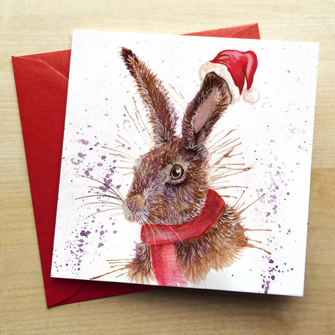 Splatter Christmas Hare Greetings Card by Katherine Williams