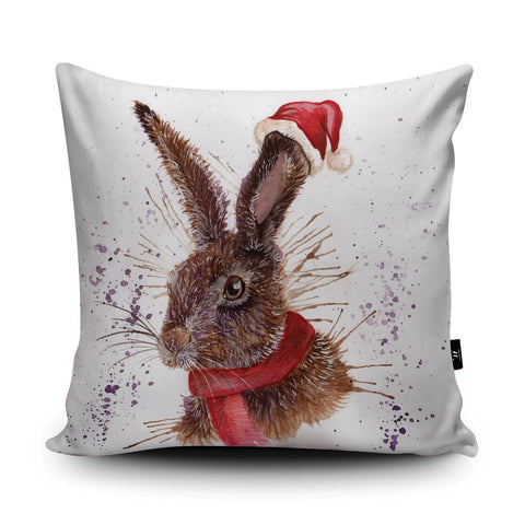 Splatter Christmas Hare Cushion by Katherine Williams