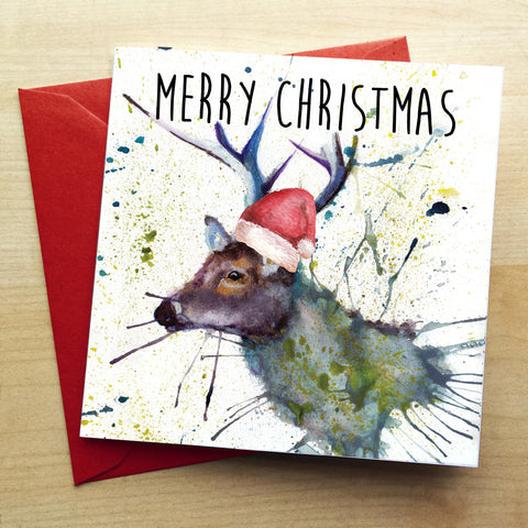 Splatter Christmas Stag Greetings Card by Katherine Williams