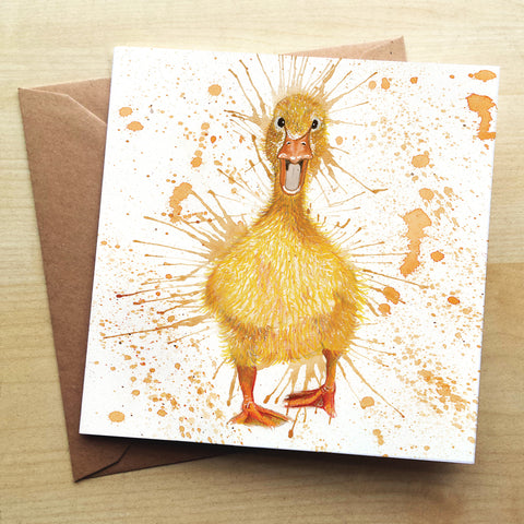 Splatter Duck Greetings Card by Katherine Williams
