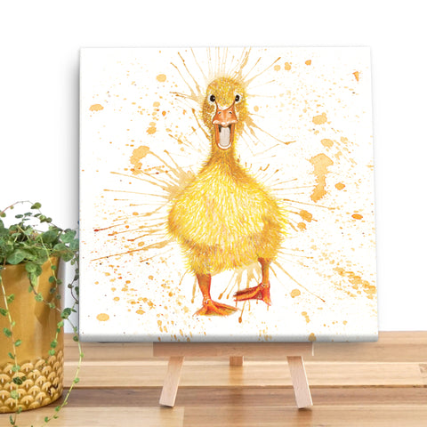 Splatter Duck Wooden Canvas by Katherine Williams