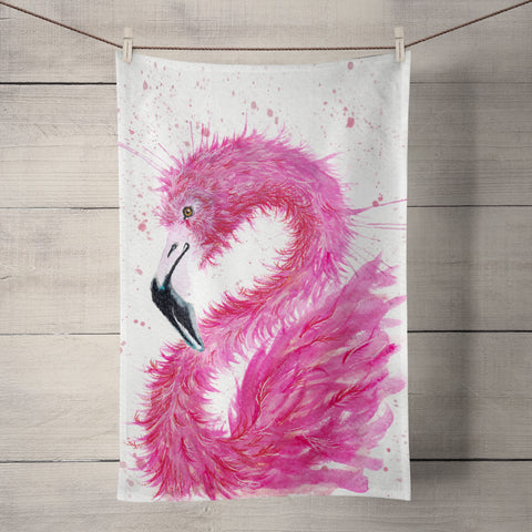 Splatter Flamingo Tea Towel by Katherine Williams