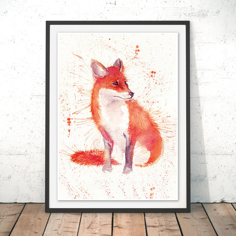 Splatter Fox Original Print by Katherine Williams