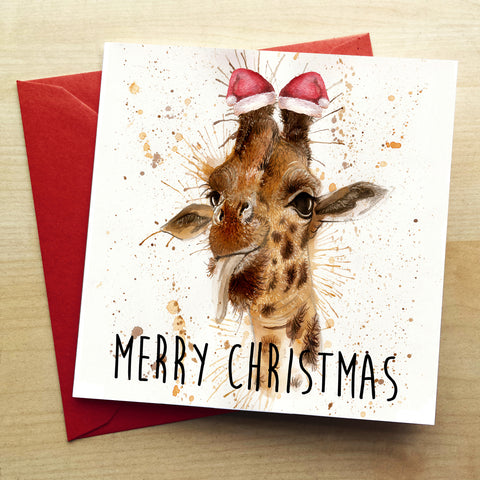 Splatter Christmas Giraffe Greetings Card by Katherine Williams
