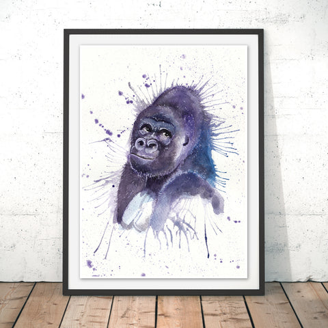 Splatter Gorilla Original Print by Katherine Williams