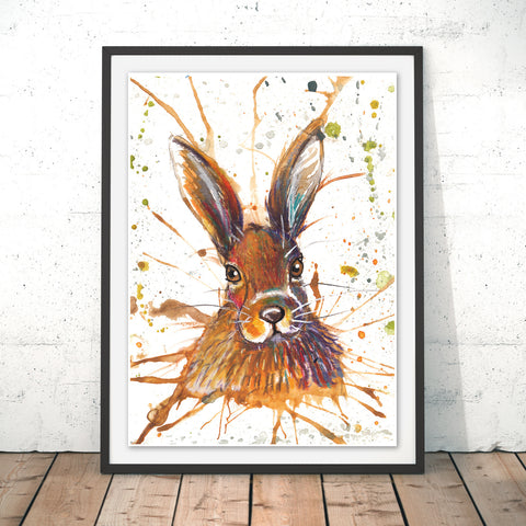 Splatter Hare Original Print by Katherine Williams