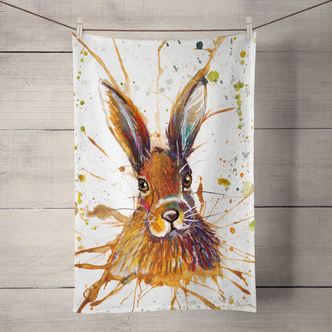 Splatter Hare Tea Towel by Katherine Williams