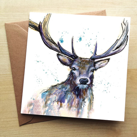 Splatter Hart Greetings Card by Katherine Williams