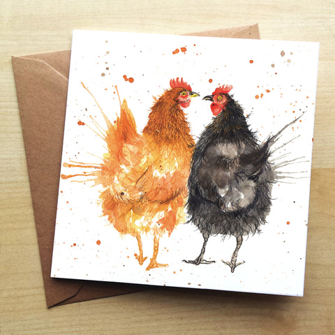 Splatter Hens Greetings Card by Katherine Williams