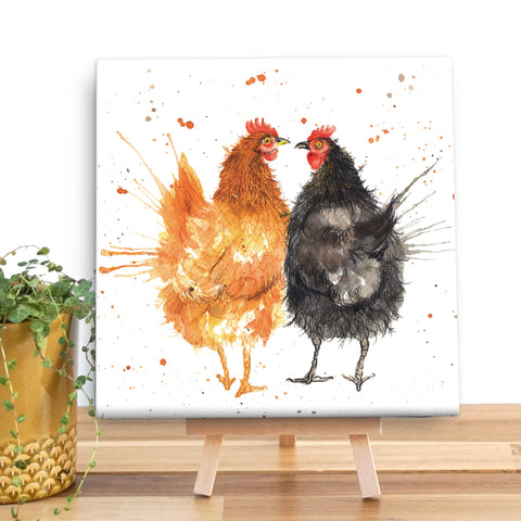 Splatter Hens Wooden Canvas by Katherine Williams