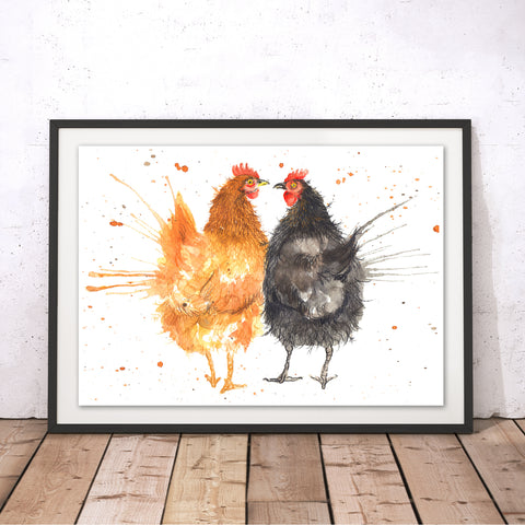 Splatter Hens Original Print by Katherine Williams