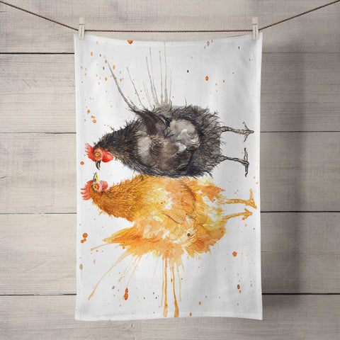 Splatter Hens Tea Towel by Katherine Williams