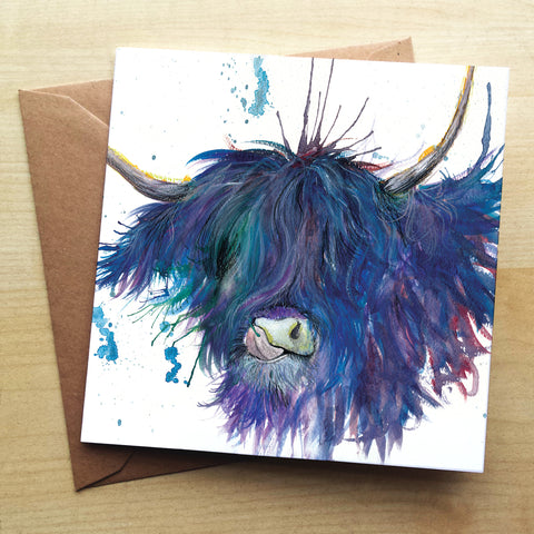 Splatter Highland Cow Greetings Card by Katherine Williams