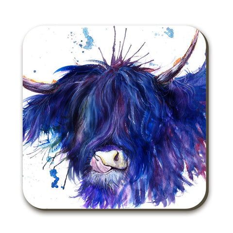 Splatter Highland Cow Coaster by Katherine Williams