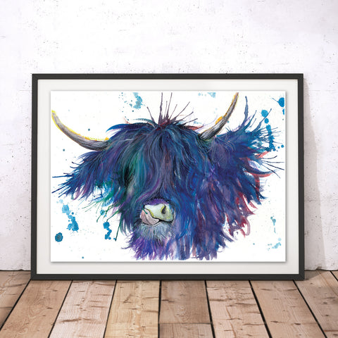 Splatter Highland Cow Original Print by Katherine Williams