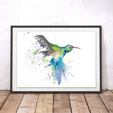 Splatter Hummingbird Original Print by Katherine Williams