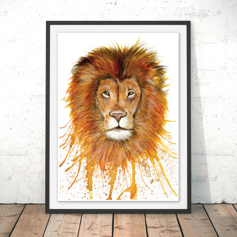 Splatter Lion Original Print by Katherine Williams