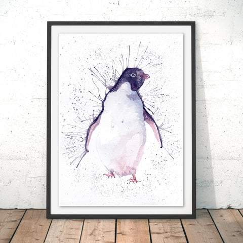 Splatter Penguin Original Print by Katherine Williams