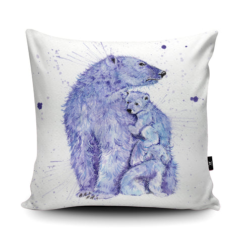 Splatter Polar Bears Cushion by Katherine Williams