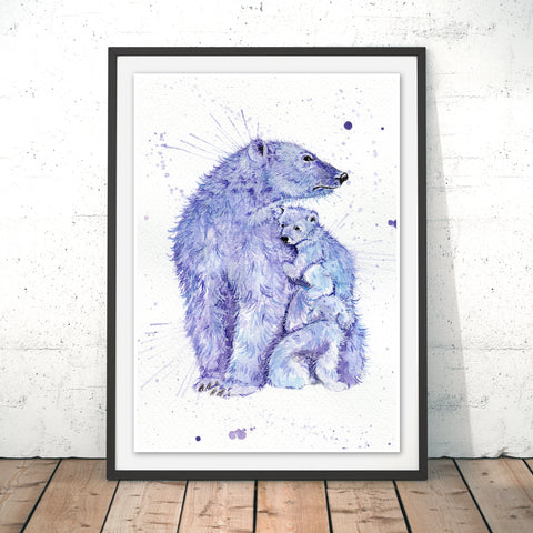 Splatter Polar Bears Original Print by Katherine Williams