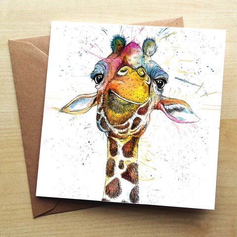 Splatter Rainbow Giraffe Greetings Card by Katherine Williams