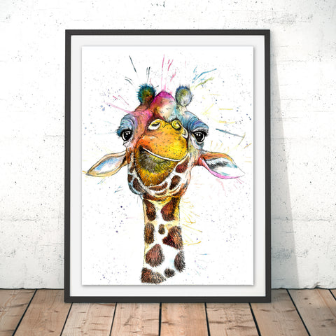 Splatter Rainbow Giraffe Original Print by Katherine Williams