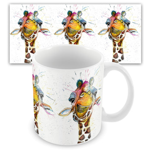 Splatter Rainbow Giraffe Ceramic Mug by Katherine Williams