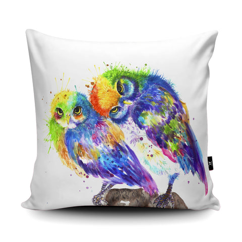 Splatter Rainbow Owls Cushion by Katherine Williams
