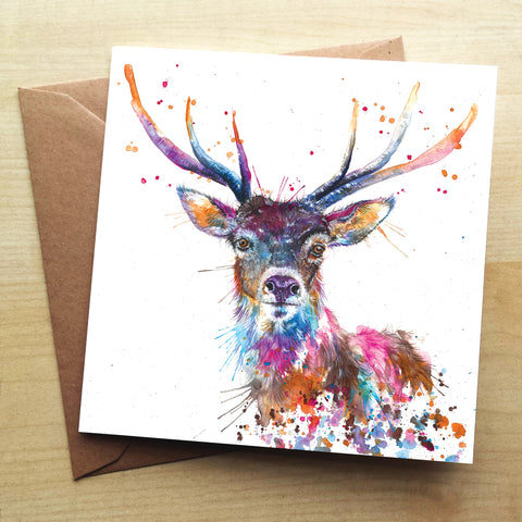 Splatter Rainbow Stag Greetings Card by Katherine Williams