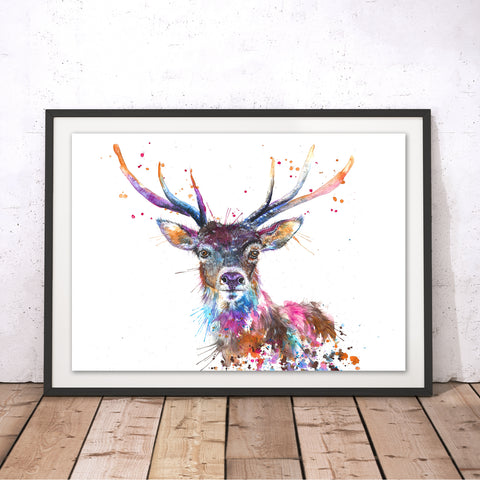 Splatter Rainbow Stag Original Print by Katherine Williams