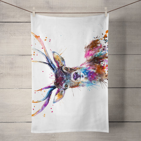 Splatter Rainbow Stag Tea Towel by Katherine Williams