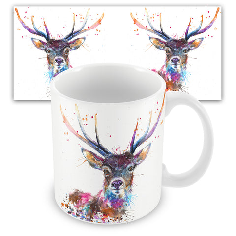 Splatter Rainbow Stag Ceramic Mug by Katherine Williams