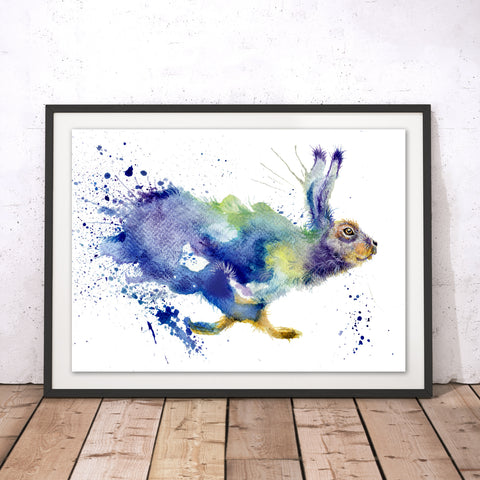Splatter Running Hare Original Print by Katherine Williams