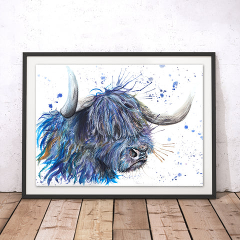 Splatter Scottish Coo Original Print by Katherine Williams