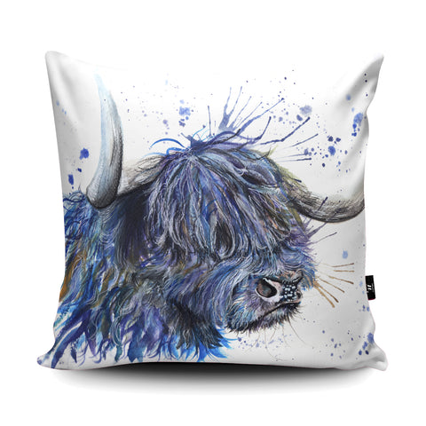 Splatter Scottish Coo Cushion by Katherine Williams