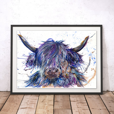 Splatter Scruffy Coo Original Print by Katherine Williams