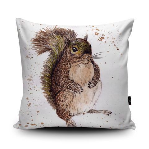 Splatter Squirrel Cushion by Katherine Williams