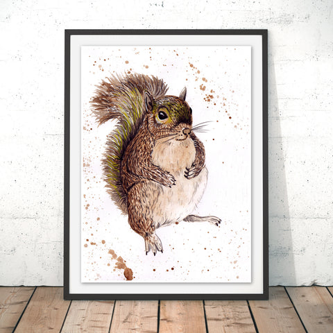 Splatter Squirrel Original Print by Katherine Williams