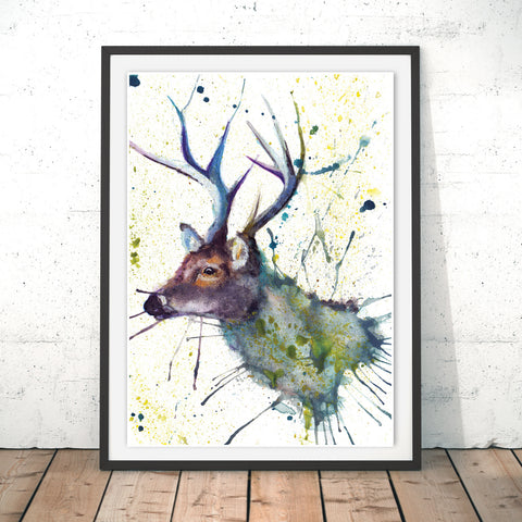 Splatter Stag Original Print by Katherine Williams