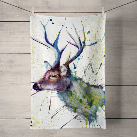 Splatter Stag Tea Towel by Katherine Williams