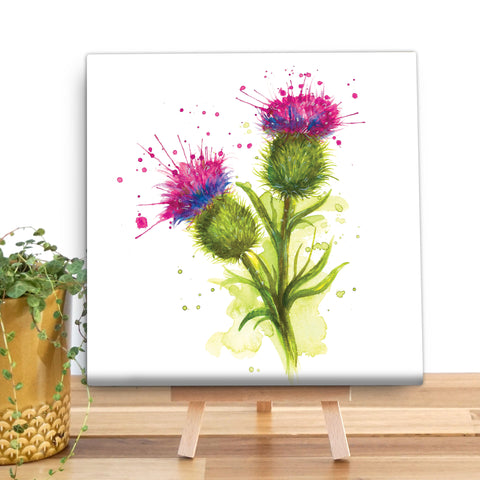 Splatter Thistle Wooden Canvas by Katherine Williams