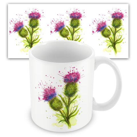 Splatter Thistle Ceramic Mug by Katherine Williams