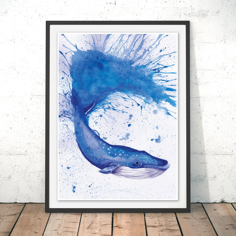 Splatter Whale Original Print by Katherine Williams