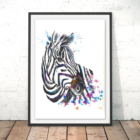 Splatter Zebra Original Print by Katherine Williams