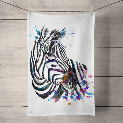 Splatter Zebra Tea Towel by Katherine Williams