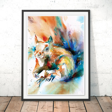 Formby Red Squirrel Original Print by Liz Chaderton
