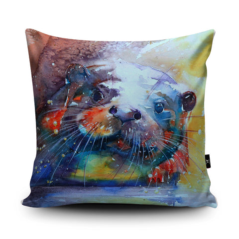 Rainbow Otter Cushion by Liz Chaderton