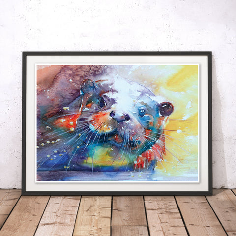 Rainbow Otter Original Print by Liz Chaderton