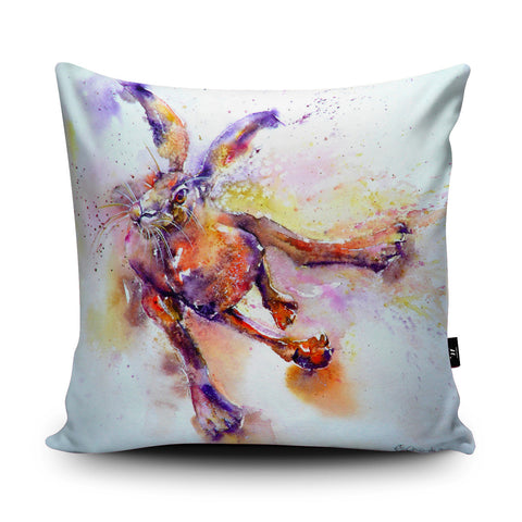 Slightly Mad March Hare Cushion by Liz Chaderton